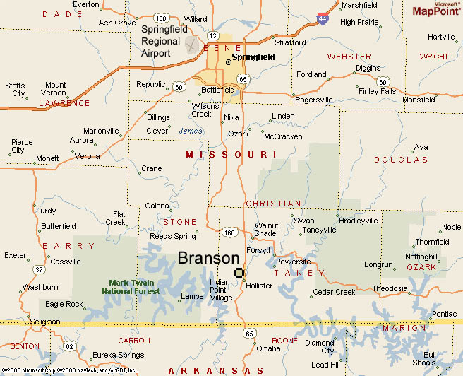 REGIONAL MAP OF BRANSON The main air access is from Springfield airport which